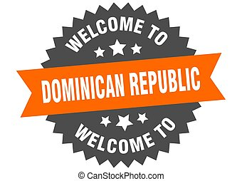 república dominicana, signo., pegatina, naranja, bienvenida
