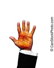 república, dominicano, mão