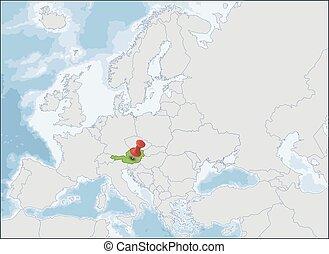república, europa, austria, mapa, ubicación