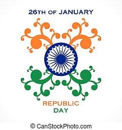 república, feliz, desenho, dia, saudação