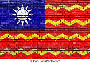 república, pared ladrillo, bandera, civil, pintado, china
