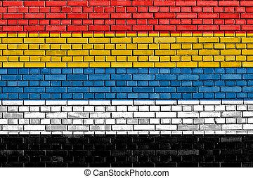 república, pared, ladrillo, bandera de china, pintado