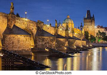 república, praga, -, puente de charles, checo