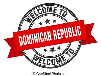 república, señal, bienvenida, dominicano, stamp., rojo