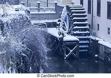república tcheca, pague, água, moinho, em, nevada