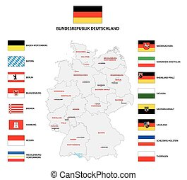 república, vector, administrativo, alemania, federal, mapa, ...