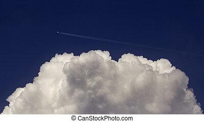 repülés, felül, felhő