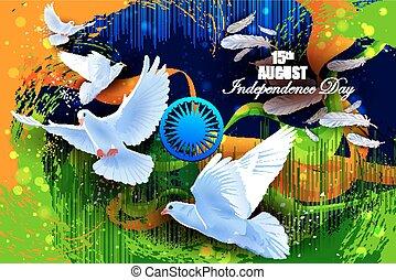 repülés, indiai, háttér, galamb, nap, szabadság, ünneplés