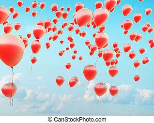 repülés, léggömb, piros, száz