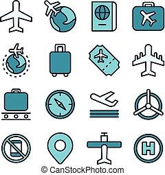 repülés, utazás, fogalom, ikon, levegő