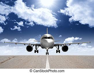 repülőgép, alatt, a, kifutópálya