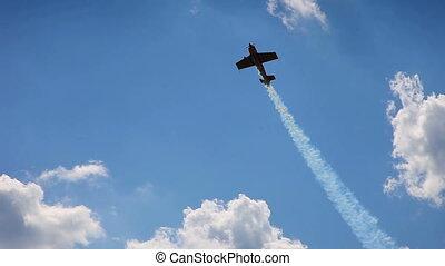 repülőgép, alatt, művészet, hurkolás