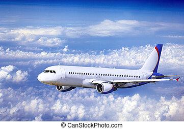 repülőgép, -ban, slicc, képben látható, a, ég, noha,...