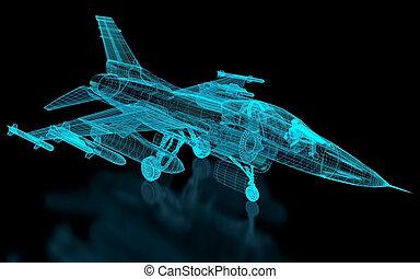 repülőgép, behálóz, vadászrepülőgép
