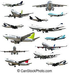 repülőgép, collection., magas, döntés