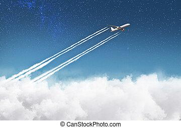 repülőgép, elhomályosul, felszállás, felül
