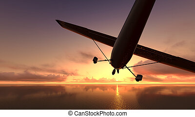 repülőgép, felett, a, ocean.