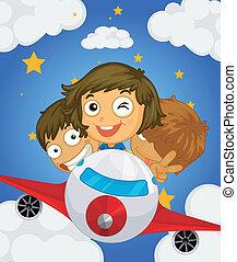 repülőgép, három, gyerekek