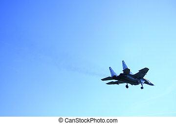 repülőgép, képben látható, a, kék ég