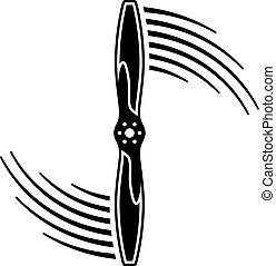 repülőgép, légcsavar, indítvány, egyenes, jelkép