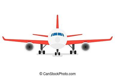 repülőgép, modern, elszigetelt, háttér, fehér