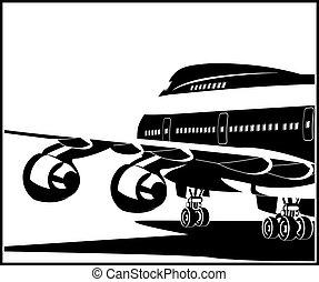 repülőgép, modern, sugárhajtású repülőgép