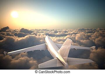 repülőgép, repülés, elhomályosul, felül