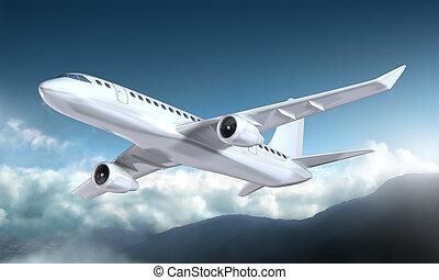 repülőgép, repülés, felül, a, hegyek