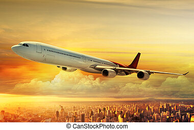 repülőgép, repülés, felül, város