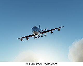 repülőgép, repülőjárat, felett, elhomályosul