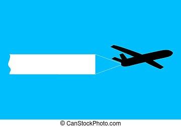 repülőgép, transzparens, vontatás