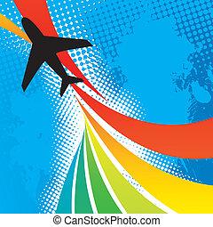 repülőgép, utazás, elvont