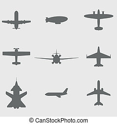 repülőgép, vektor, állhatatos, ikonok