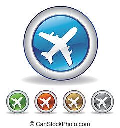 repülőgép, vektor, ikon