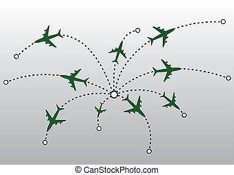 repülőgép, vektor, megvonalaz