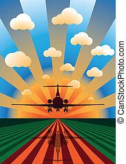 repülőgép, vektor, napnyugta, ábra, leszállás