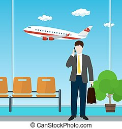repülőtér, aktatáska, ember