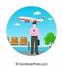 repülőtér, ember, aktatáska, európai