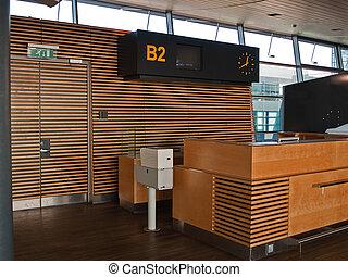 repülőtér, menekül, bejelentkezés, pult, kapu