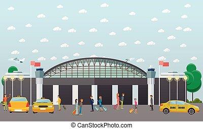 repülőtér, taxi, szolgáltatás, fogalom, vektor, ábra, alatt, lakás, style.