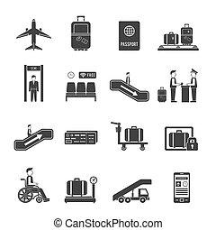 repülőtér, utazás icons