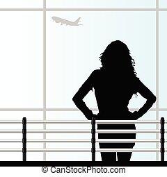 repülőtér, vektor, leány, ábra