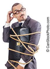 rep, affärsman, uppe, bundet