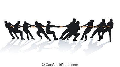 rep, handtag, tillsammans