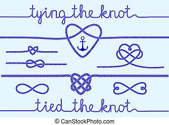 rep, hjärtan, sätta, knopar, vektor