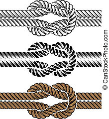 rep, symboler, vektor, svart, knyta