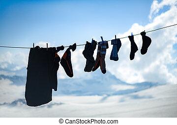 rep, torkning, bergsbestigare, sockor, kläder