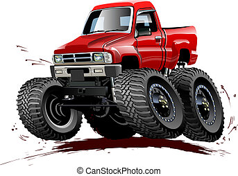 repaint, camion, dessin animé, one-click, monstre