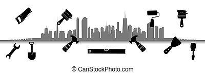 repair., μικροβιοφορέας , city., illustration., εργαλεία