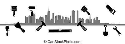 repair., ベクトル, city., illustration., 道具